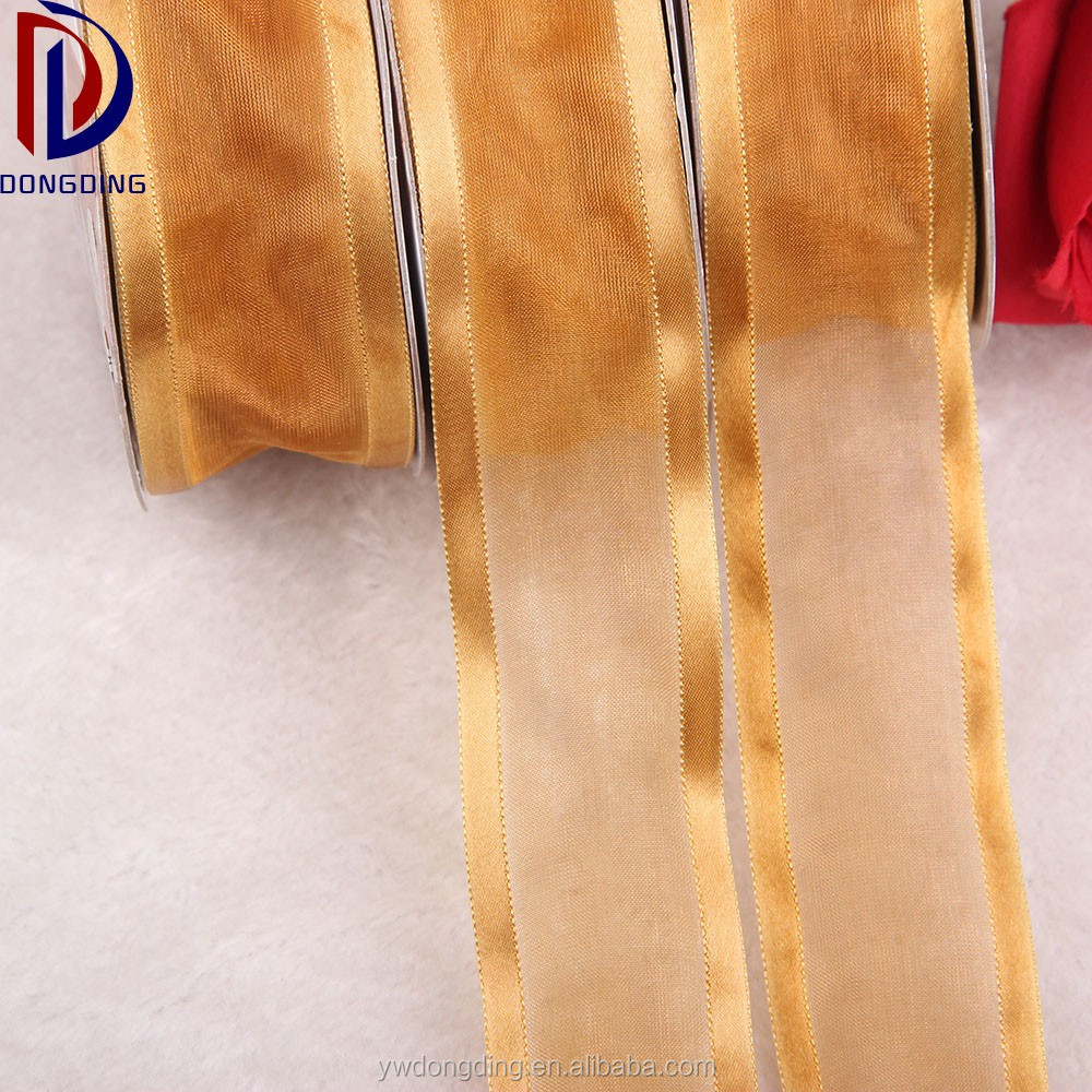 Wholesale coffee 38mm organza ribbon gauze ribbon Wide-brimmed sari silk ribbon