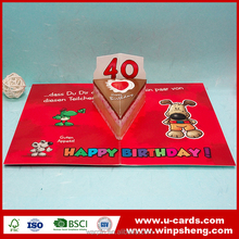 Pop up 40 years old birthday greeting cards