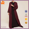 Front Open Abaya with Lace Detail Muslim Newest Design Wholesale