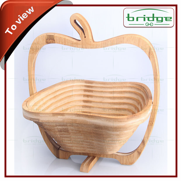 Original wood bamboo foldable Apple shape folding bamboo fruit basket