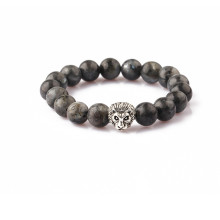 wholesale Chinese grey labradorite stone beads bracelet jewelry lion bracelet men