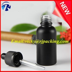 30ml 50ml 100ml universal matte black essential oil glass bottle for oral liquid with dropper
