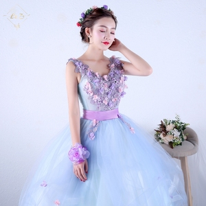 L&Z Latest Designs Embroidery Beaded Plus Size Prom Dress