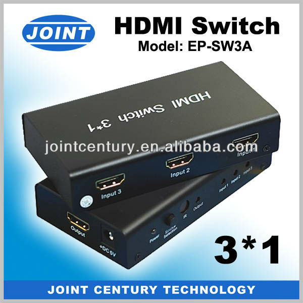 Low price 3x1 HDMI 3 In 1 Out HDMI Auto Switch with HDMI Cable 1080P 3D