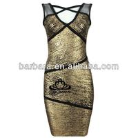 Barbara gold printing evening dress rent in promotion for Christmas!