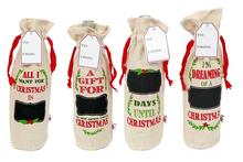 Christmas Jute Wine Bottle Tote Gift Bags