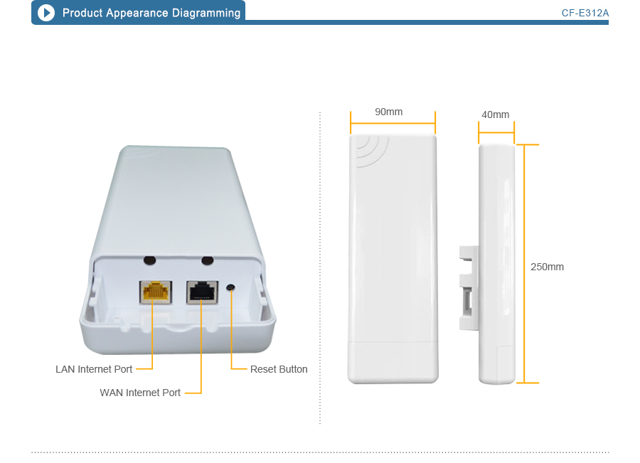 COMFAST CF-E312A 300mbps 5.8Ghz Wireless ap / Network Bridge / Outdoor Wifi CPE / Repeater / Signal Amplifier