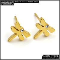 Fancy 18k solid gold plated yellow dragonfly screw back stud earrings for men and women