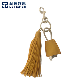 2019 school office stationery supplies travelling users PU tassel crafts luggage tag with usb wire and key