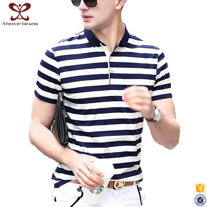2017 100% Cotton Striped tee shirts Design Wholesale Polo t shirt For Men