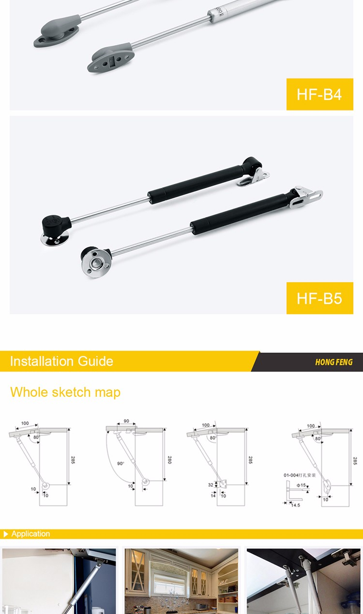 Hardware manufacturer iron head gas spring for wall bed