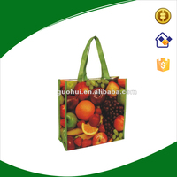 Recycle lamination non woven fabric tote shopping bag with vegetable printing