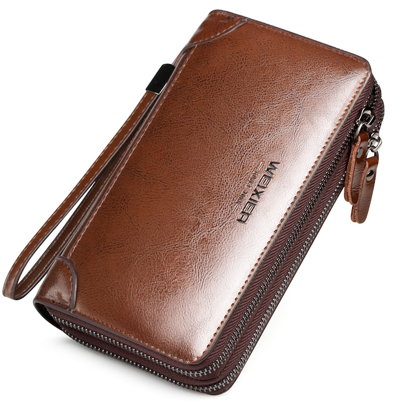 Wholesale classic PU leather men clutch bag oil wax surface long <strong>wallet</strong>