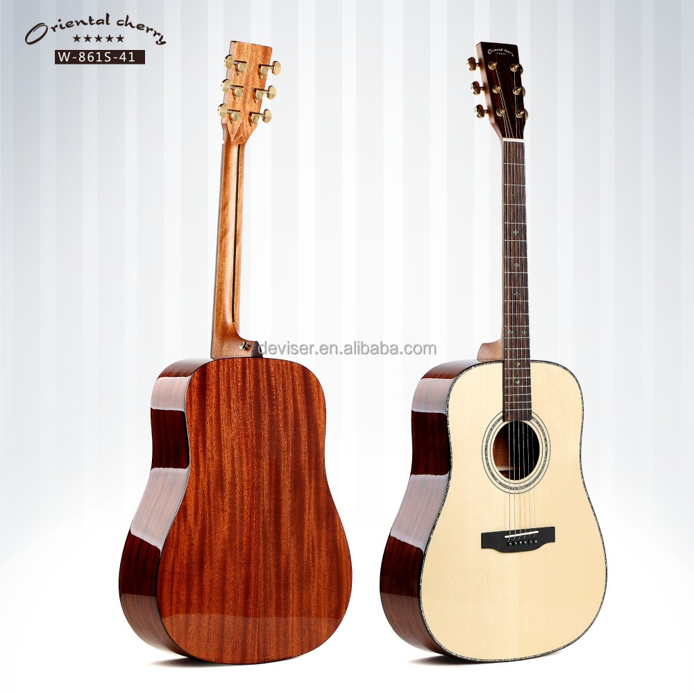 [Oriental Cherry] High end solid spruce acoustic guitar China factory