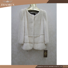 New Design Winter Women Short Import White Mink Fur Coat Jacket Overcoat For Lady