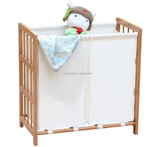Bamboo Conner Washable Laundry Hamper basket with Removable Cotton Fabric Bag