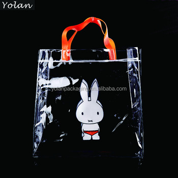 promotion clear pvc shopping bag with custom logo