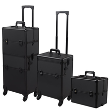 Rolling Cosmetic Train Case Aluminum Lockable Trolley Case Makeup