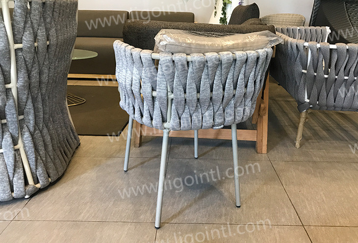 2019 new design french rope designer aluminium bistro hotel outdoor garden chair
