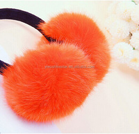 pure fake fur orange color winter ear muffs 1400106,make you warm and comfortable !