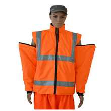 hi vis wholesale <strong>orange</strong> zip off sleeves jacket