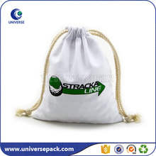 Custom small calico pouch bags drawstring with logo printing