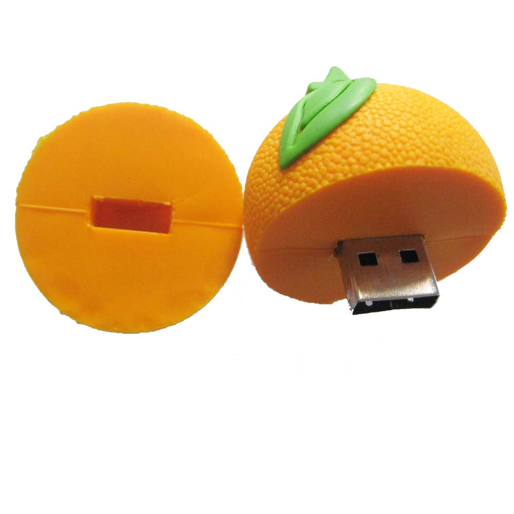 Fruit shape USB Flash Drive, PVC orange USB Memory Disk, food USB Stick 4GB 8GB 16GB 32GB