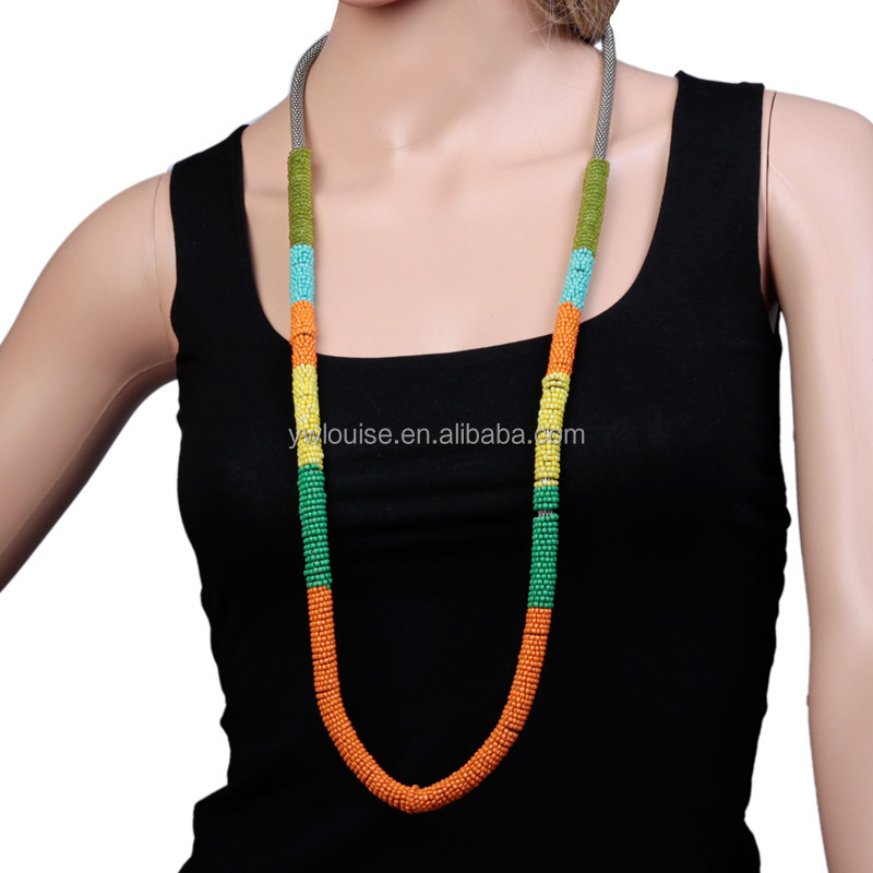 Handmade Bohemian Jewelry Colorful Seed Beads Hoop Wrapped Long Rope Link Chain Statement Necklace