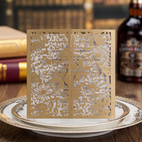 Elegant royal free samples handmade laser cut luxurious wedding invitation card designs CW0023