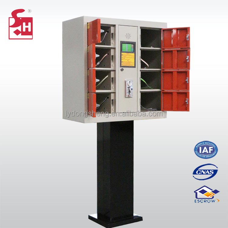 coin and code operated cell phone battery charging station / cellphone charging locker cabinet