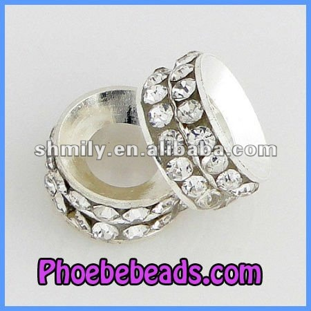 Wholesale Big Hole Double Row Clear Rhinestone Rondelle Spacer Beads DRRS-A07