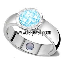 2014 china supplier blue crystal stone ring magnetic energy stainless steel turkish fashion jewelry wholesale
