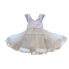 2017 flutter sleeve design High quality baby Summer clothes sequin girl tutu romper