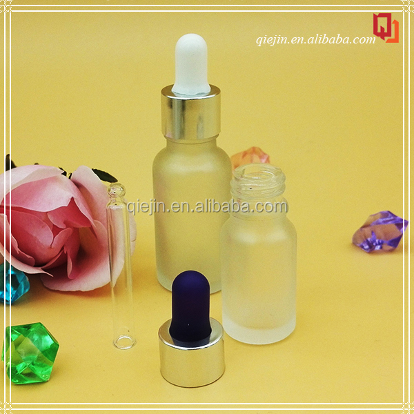 Transparent Opaque round 15ml 30ml glass dropper bottle matte white eliquid glass bottle with silver screw cap lids