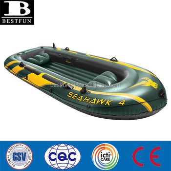 Super tough 30 gauge PVC vinyl4-Person Inflatable blow up raft Boat Set with Aluminum Oars and High Output Air Pump