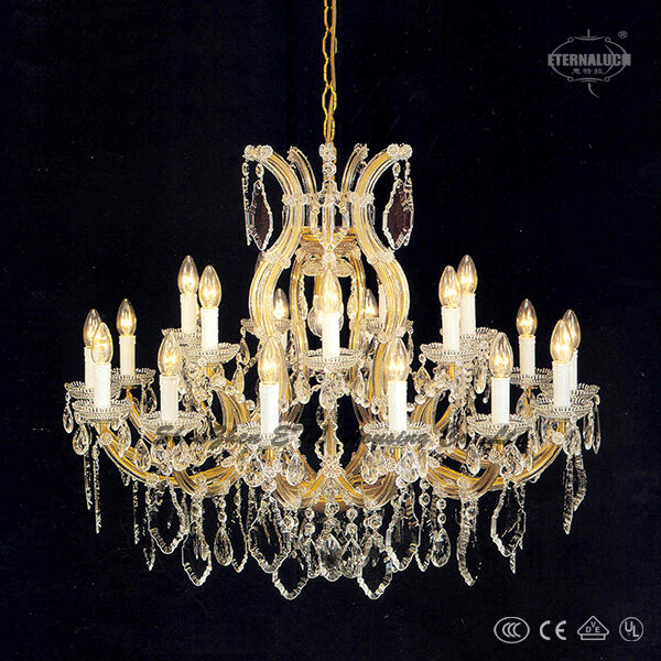 2014 new beautiful gold color lobby crystal chandeliers with white shade ETL86025