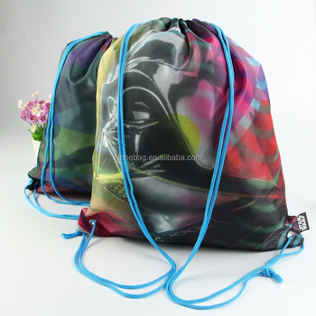 Cheap promotion full color print polyester drawstring bag/nylon shopping bag