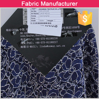 Knitted high quality polyester spandex and nylon solid dyed blue thick lace fabric
