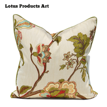 New American Country Style Home Sofa Kutch Work Leather Sofa Seat Hand Embroidery Cushion Cover