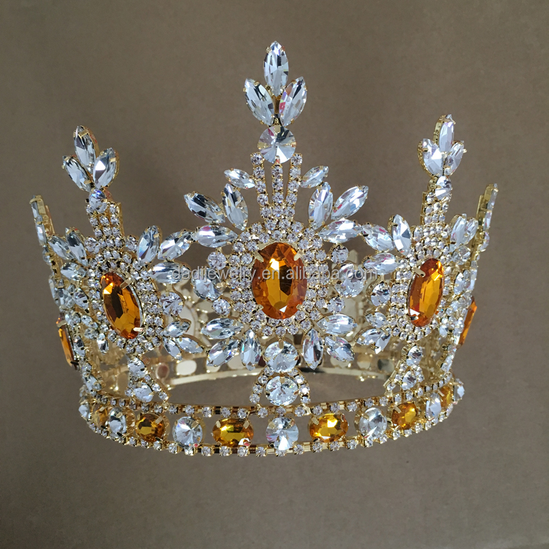 Hair Accessories Fashion Jewelry Design 2016 Manufacturer Shiny Crystal Gold Custom Pageant Crowns Full Round Tall Pageant Crown