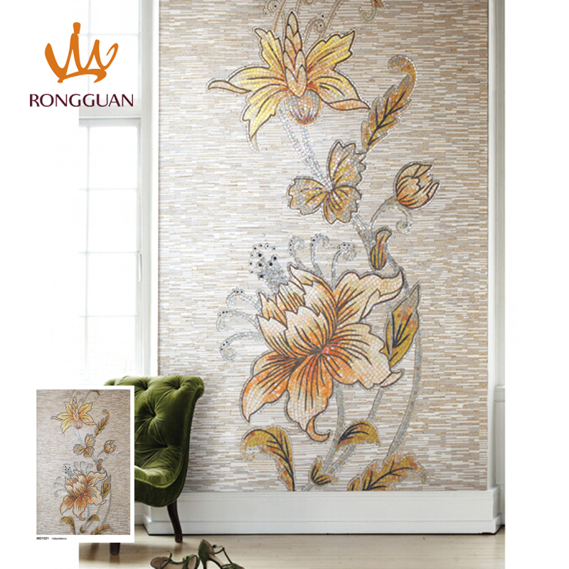 flower pattern art decoration art glass mosaic with stone