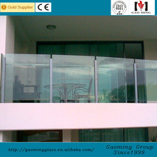 House use 2017 12mm 6+6mm tempered clear glass frameless glass railing
