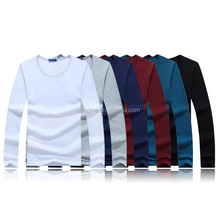 Cheap blank unisex long sleeve round neck cotton polyester jersey t shirt