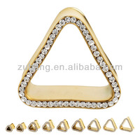 Tunnel Piercing Plated Gold Triangle Shaped Jeweled Tunnel Plug