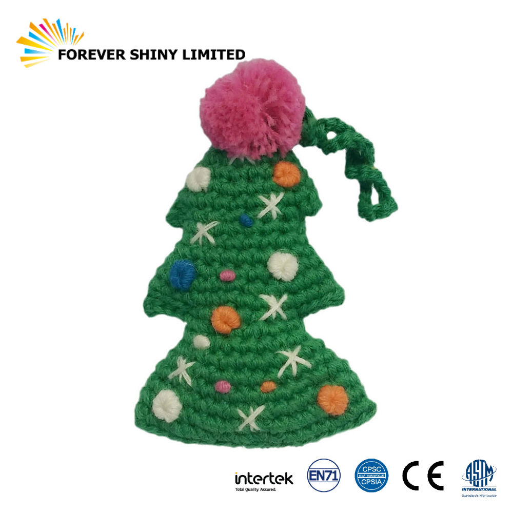 Novelty Gift Key Chain Small Capsules Toys Cute String Woven Plush Christmas Tree for Vending Machines