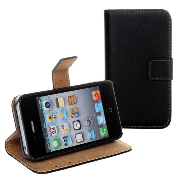 iCoverCase Genuine Cowhide Leather Case for iPhone 4 4S Side Open Wallet Magnetic Closure Mobile Phone Bags Cases