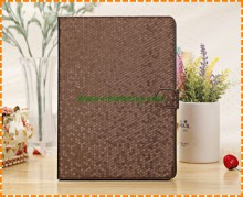 Hot selling Grid diamond pattern PU Leather Stand Flip Case For iPad air 1