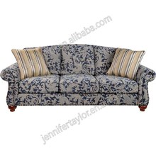 Luxury Chesterfield fabric blue couches Antique Upholstered rivet living room sofa with wooden legs