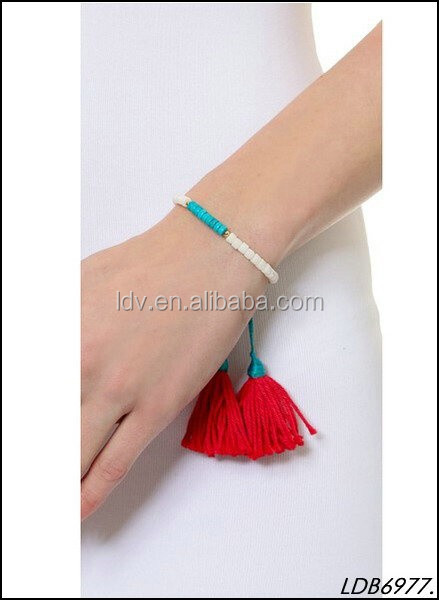 Hand Craft Beaded Stretch Woven Charlie Fabric Tassels Bracelet