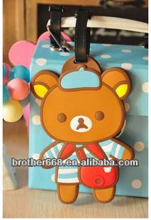 Lovely bear animal shape plastic luggage tag